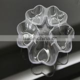 five holes heart shape disposable plastic plate