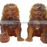 BS029 big size liuli Fengshui crystal lion statue as outdoor display for home and hotel decor