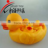 4 x BABY BATH BATHING TOYS RUBBER RACE SQUEAKY DUCKS BABIES WITH ADULT DUCK