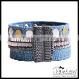 Chameleon Magnetic Lock Blue Jeans Fabric Band Button Bracelet