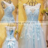 Free Shipping Real Sample Light Blue Beading Evening Dresses 2016 Crystal Flower Applique Open Back Bow Sash Party Gown ML183