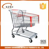 shopping cart with 2 fixed and 2 swivel wheels non brake