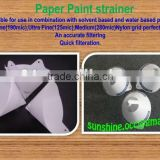 Auto use white paper paint cone stainer(logo printable)
