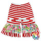 Red White Stripe With Flower Ruffle Designs Baby Icing Capris Wholesale Cotton Short Shorts Boutique Icing Ruffle Shorts