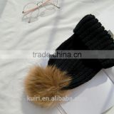 15 colors big real fur poms fashion Classic Tight Knitted Fur ball Pom Poms knitted Hat Women Cap Winter Beanie fox fur balls
