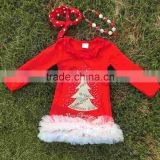 Girls red christmas dress hot sell baby girl's cotton full sleeve dress 2-7years party Christmas tree dress princess dresses