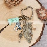 New Fashion Heart Antique Bronze Feather Cat Key Pendants With Velvet Suede Mint Green Tassel Vintage Key Chains Key Rings