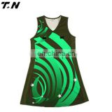 Custom sublimation printed netball dresses bibs uniforms with strips