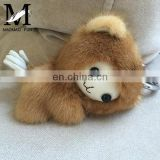 New Design Custom Stuffed Plush Soft Keyring Monkey / Real Mink Fur Custom Keychain Wholesale