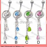 2-in-1 belly button jewelry with slide-off ring and two teardrops on dangles body piercing jewelry in stainless steel