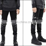 Dark Black Quilted Highest Version Stitching Leather Panel Multi Zip Skinny Biker Motorcycle Zipper Jeans
