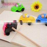 Logo printed custom korean stationery wholesale cute fancy car shaped plastic mini cosmetic pencil sharpener mixed colors