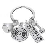 Keyring fitneess keychain charms dumbbel barbell kettle bell keychain