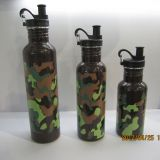 Customized Summer Camp Army Green color stainless steel water bottle with special creative lid
