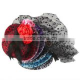 Beautiful Charming Popular Feather Leopard Print Hair Clip Mini Top Hat