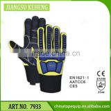 China PVC Safety cuff fluo orange pvc oil resistant butcher working gloves TPR Protection gloves
