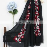Best Selling Korean Fashion Girl Maxi Small Flower Embroidery Shawl Scarf                                                                         Quality Choice