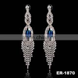 2016 New Latest Earring Designs With Blue Gemstone Claw Chain Earring For Wife Gift