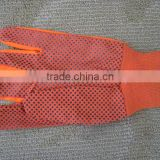 pvc dots on palm working glove/ canvas safety glove with beads