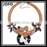 Summer New Arrival Wood Jewelry Wooden Bead Flowers Pendant Necklace