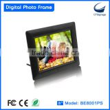 8 inch digital photo frame with clock BE8001PS gif digital sex photo frame