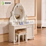 Luxury Antique European French Baroque Style Ivory White Hand Carved Wooden MDF Vanity Dressing Table Set