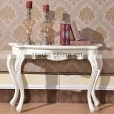 Home furniture Italian rubber wood silver carving tall console table in white