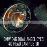 [AUTO LAMP] BM E46 4Door - LED Dual Angel Eyes Projector Headlights Set(no.6486)