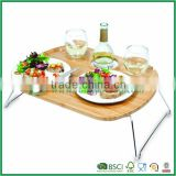 Bamboo food tray with foldable legs and bottle slots                                                                                                         Supplier's Choice