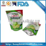 biodegradable glossy aluminium foil stand up pouch for fruits packaging with tear notch