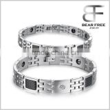 Health Care Braided Sport Titanium Silicone Magnetic Bracelets for Couples Black Carton Fiber Inlaid