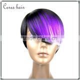 High Temperature premium synthetic wig Japanese fiber short Bob wig purple color fashion style full lace wig