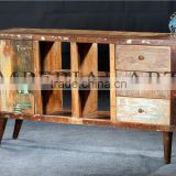 INDIAN RECYCLE WOOD SIDE BOARD WITH IRON LEGS, FOR HOME FURNITURE