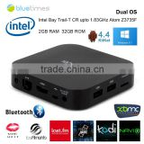New! 2015 Windows 8.1 OS and Android 4.4.4 Daul system MINI PC Intel Quad Core CPU 2G+32G wintel TV Box multimedia player