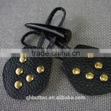 PU LEATHER BUTTON HORN TOGGLES BUTTONS FOR COAT RESIN BUTTON
