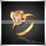 Yiwu Brass Jewelry Factory Fashion 18k Gold Plated Smooth Pink Zircon Wedding Ring
