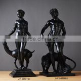 Nude female and man vintage design bronze sculptures