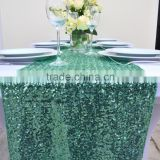 Emerald Green rectangular Sequin Table overlay linens Runner