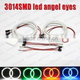 led manufacture 2pcs 72mm 69 SMD 3014 super brightness smd led angel eyes kits white blue red green color led halo ring for car