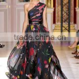 Z121015 New Style Sleeveless Printed Chiffon One Shoulder Flower Prom Dress vestidos de festa vestido longo
