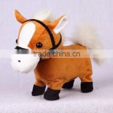 Walking and nodding horse with mouth moving and tail wagging, electronic and musical stuffed animal plush toy