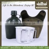 True Adventure TB18-001 Plastic Army Water Bottle Military Water Jug with Pouch Outdoor Hunting Aluminum Canteen
