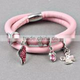 ZMZY Endless Story Charm Bracelet Leather Bracelet With Pink Crystal Angel Charms For Women Jewelry