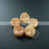 12MM champagne color plated druzy quartz irregular surface round stone cabochon for DIY earrings,rings supplies 4110124