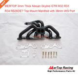 MERTOP 3mm thick Black coated Niss** Skyline GTR R32 R33 R34 RB26DET RB26 T4 TWIN TOP MOUNT Manifold with 38mm wastegate