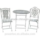 POWERLON Vintage foldable bistro set wrought iron outdoor garden furniture