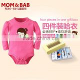 2014 long sleeve baby romper set in-stock children clothing manufacturer in China customized clothing