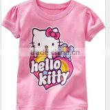 girls light pink hello kitty cartoon t-shirts children's summer cotton tops kids summer clothes