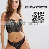 Runwaylover sexy black lace sexy lace bra and panty set