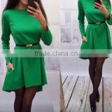 hot sale long sleeve green spring women dress mini dress with belt fashion party causual dress